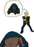 Paranoid manskytteungdom stock illustrationer
