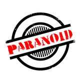 Paranoid rubber stamp. Grunge design with dust scratches. Effects can be easily removed for a clean, crisp look. Color is easily changed stock illustration