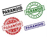 Scratched Textured PARANOID Stamp Seals. PARANOID seal imprints with corroded style. Black, green,red,blue vector rubber prints of PARANOID text with corroded royalty free illustration
