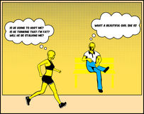 Paranoid Suspicious Girl Pop Art Illustration. A paranoid female jogger is thinking negatively about an innocent guy while jogging pass him stock illustration