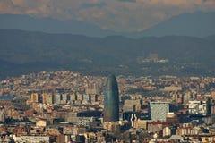 Paranoramic Ansicht in Agbar Kontrollturm in Barcelona Stockfotos