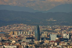 Paranoramic view in Agbar tower in Barcelona. View of the main tower in Barcelona, the abgar tower Stock Photos