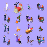 Paranormal Abilities Isometric Set. With prediction hypnotism voodoo and healer meditation on blue background isolated vector illustration Stock Photography