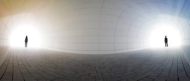 Paranseende på två slut av en tunnel royaltyfri illustrationer