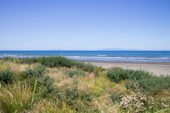 Paraparaumu strand i Kapiti, gummistövel som ut ser över det Tasman havet till den södra ön av Nya Zeeland Fotografering för Bildbyråer