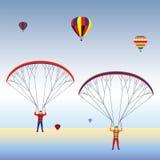 Parapente e balões no céu ilustração do vetor