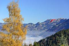 Parapentisme dans les alpes Photo libre de droits
