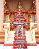 Parapet and the Entrance. Arched paraphet is the pinnacle that is a demarcation of temple zone  in Buddhist monastery.    This colorful one is located in front Stock Photography