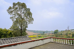 Parapet on rooftop of aged farmhouse in sunny day Royalty Free Stock Image