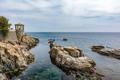 Parapet walk or cami de ronda by the mediterranean sea in Costa Brava, S Agaro, Catalonia, Spain. Scenioastal viewpoint royalty free stock image
