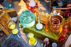 Paraphernalia for chemistry experiments Royalty Free Stock Images