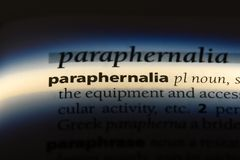 Paraphernalia. Word in a dictionary.  concept royalty free stock photography