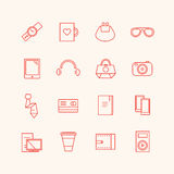 Paraphernalia vector icons set. Business, personal Royalty Free Stock Photos