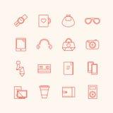 Paraphernalia vector icons set. Business, personal Royalty Free Stock Photos