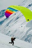 Paraplane aktivity. Sion, Switzerland - Paraplane in the Alpine mountains Stock Image