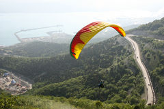 Paraplane Flyer under the Seven Winds mount Stock Photo