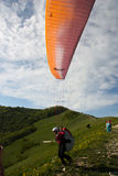 Paraplane Flyer under the Seven Winds mount Royalty Free Stock Photos