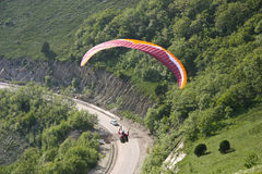 Paraplane Flyer under the Seven Winds mount Stock Photography