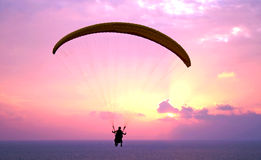 Paraplane shiluete on sunset stock images