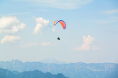 Paraplane in the sky above the Alps Stock Image