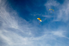 Paraplane in the sky. Paraplane flying in the sky Stock Images