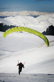 Paraplane taking off. Paraplane and paraglider taking off Royalty Free Stock Photography