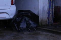 Paraplu & Auto met de vorst van Regendalingen royalty-vrije stock afbeelding
