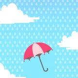 paraplu in de lucht met het regenen stock illustratie