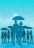 Paraplu in de regen Stock Fotografie