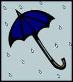 Paraplu in de regen royalty-vrije illustratie