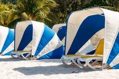 Paraplu en sunbeds op het mooie tropische strand van Labadee stock foto