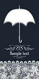 Paraplu en uitstekende kantkaart Royalty-vrije Stock Afbeeldingen