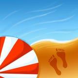 Paraplu en voetafdruk stock illustratie