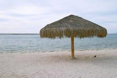 Paraplu op het strand van La Paz Royalty-vrije Stock Foto