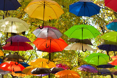 Paraplu's in de hemel royalty-vrije stock fotografie