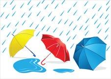 Paraplu's in de Regen stock illustratie