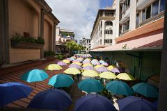 Paraplu's in de zonneschijn, Port Louis, Mauritius stock fotografie