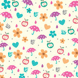 Paraplu's en bloemen in de lentepatroon Stock Afbeelding