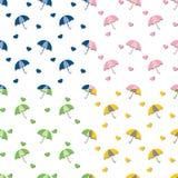 Paraplu's en harten met naadloze schaduwen - herhaal patroon in 4 kleuren stock illustratie