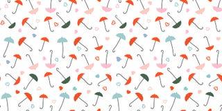Paraplu's en Harten - naadloos patroon royalty-vrije illustratie