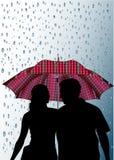 Paraplu's en regen Royalty-vrije Stock Afbeeldingen