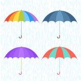 Paraplu's en Regen Royalty-vrije Stock Foto