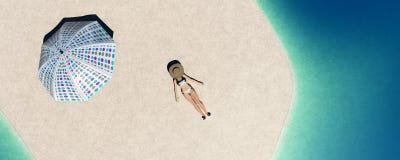 Paraplu's op het strand stock illustratie
