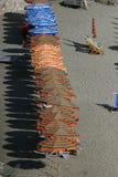 Paraplu's op Italiaanse Riviera Stock Fotografie