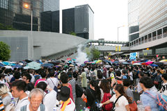 Paraplubeweging in Hong Kong Stock Foto