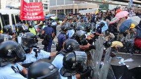 Paraplubeweging in Hong Kong stock video