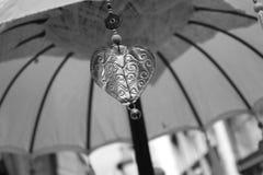 Parapluie avec de l'argent de coeur Photographie stock libre de droits