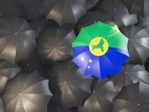 Parapluie avec le drapeau de l'Île Christmas Images stock
