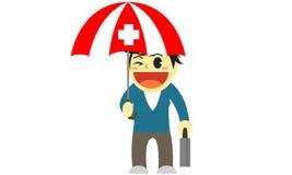 Parapluie d'assurance médicale maladie de bande dessinée d'Officewomen Photo libre de droits