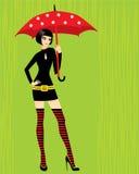parapluie de brunette Photographie stock libre de droits